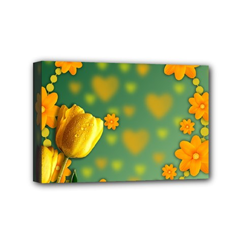 Background Design Texture Tulips Mini Canvas 6  X 4  (stretched)
