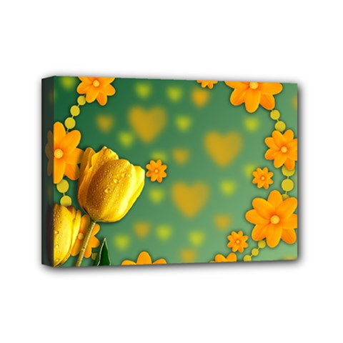 Background Design Texture Tulips Mini Canvas 7  X 5  (stretched)