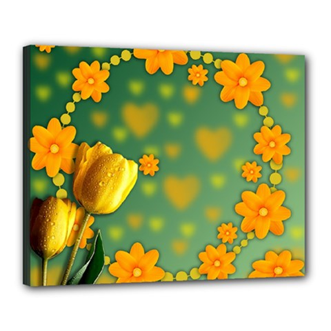 Background Design Texture Tulips Canvas 20  X 16  (stretched)