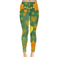 Background Design Texture Tulips Leggings