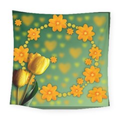Background Design Texture Tulips Square Tapestry (large)