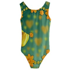 Background Design Texture Tulips Kids  Cut Out Back One Piece Swimsuit