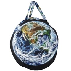 Spherical Science Fractal Planet Giant Round Zipper Tote