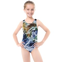 Spherical Science Fractal Planet Kids  Cut Out Back One Piece Swimsuit