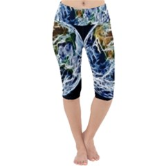 Spherical Science Fractal Planet Lightweight Velour Cropped Yoga Leggings