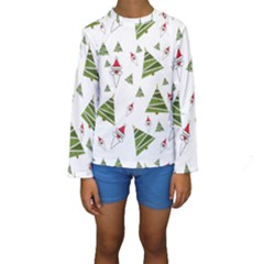 Christmas Santa Claus Decoration Kids  Long Sleeve Swimwear