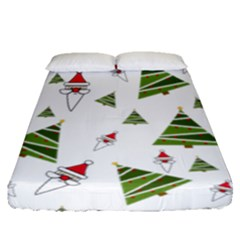 Christmas Santa Claus Decoration Fitted Sheet (queen Size)