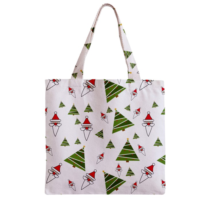 Christmas Santa Claus Decoration Zipper Grocery Tote Bag