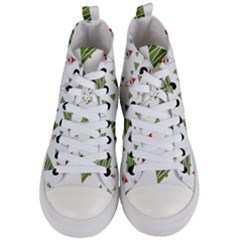 Christmas Santa Claus Decoration Women s Mid Top Canvas Sneakers