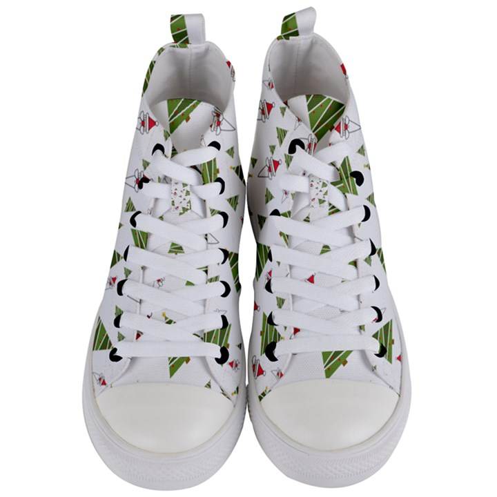 Christmas Santa Claus Decoration Women s Mid-Top Canvas Sneakers