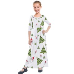 Christmas Santa Claus Decoration Kids  Quarter Sleeve Maxi Dress