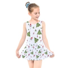 Christmas Santa Claus Decoration Kids  Skater Dress Swimsuit