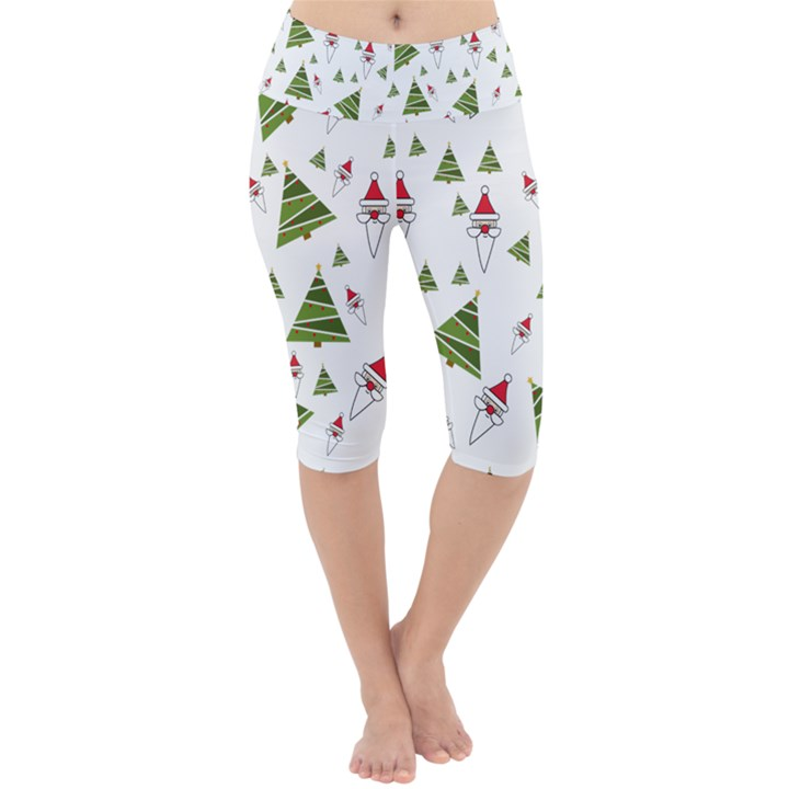 Christmas Santa Claus Decoration Lightweight Velour Cropped Yoga Leggings