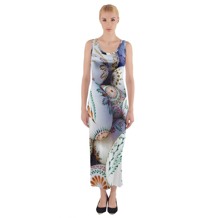 Model Color Traditional Fitted Maxi Dress