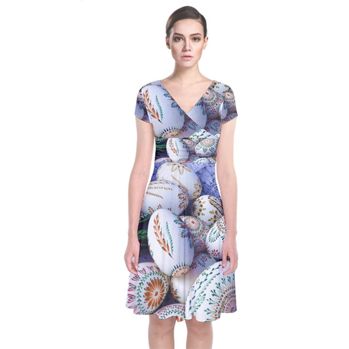 Model Color Traditional Short Sleeve Front Wrap Dress