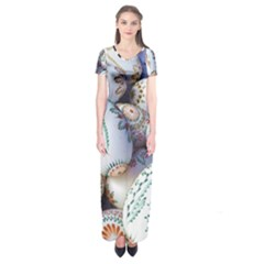 Model Color Traditional Short Sleeve Maxi Dress