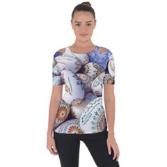 Model Color Traditional Shoulder Cut Out Short Sleeve Top
