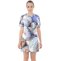 Model Color Traditional Sixties Short Sleeve Mini Dress