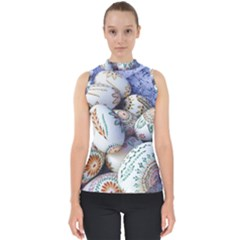 Model Color Traditional Mock Neck Shell Top by Nexatart