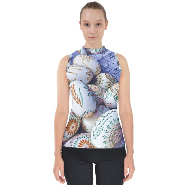 Model Color Traditional Mock Neck Shell Top