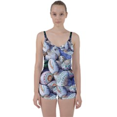 Model Color Traditional Tie Front Two Piece Tankini