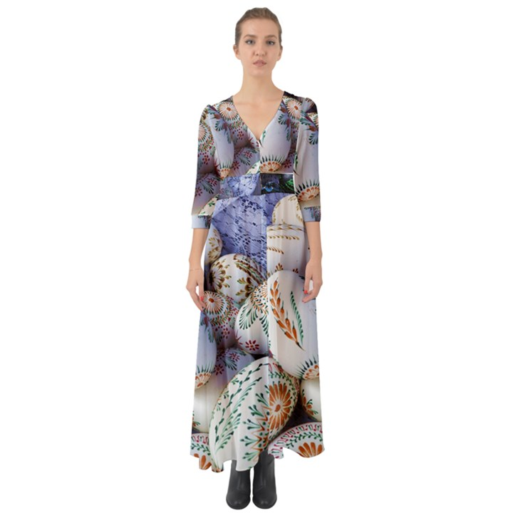 Model Color Traditional Button Up Boho Maxi Dress