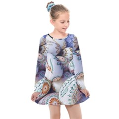 Model Color Traditional Kids  Long Sleeve Dress