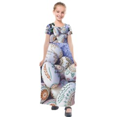 Model Color Traditional Kids  Short Sleeve Maxi Dress