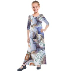 Model Color Traditional Kids  Quarter Sleeve Maxi Dress