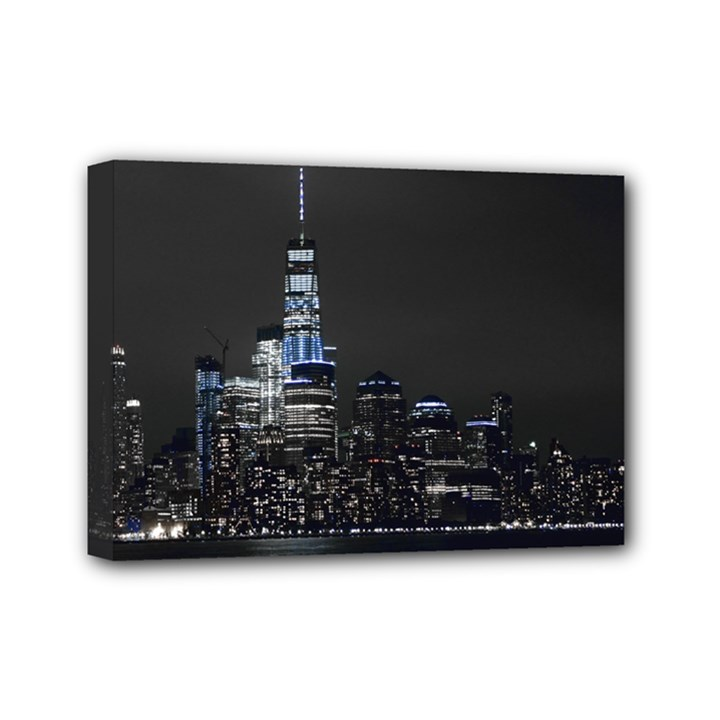 New York Skyline New York City Mini Canvas 7  x 5  (Stretched)