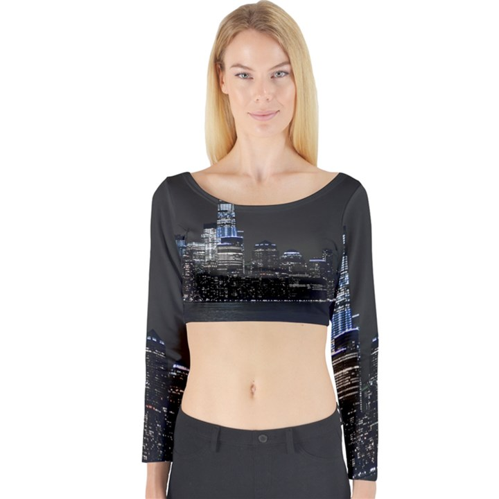 New York Skyline New York City Long Sleeve Crop Top