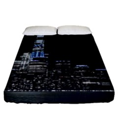 New York Skyline New York City Fitted Sheet (queen Size) by Nexatart