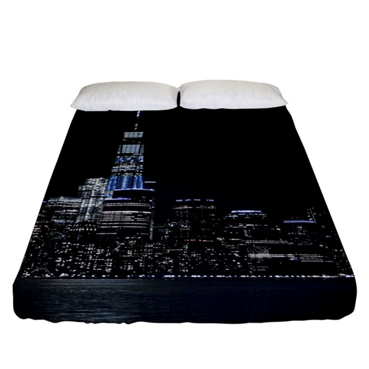 New York Skyline New York City Fitted Sheet (California King Size)