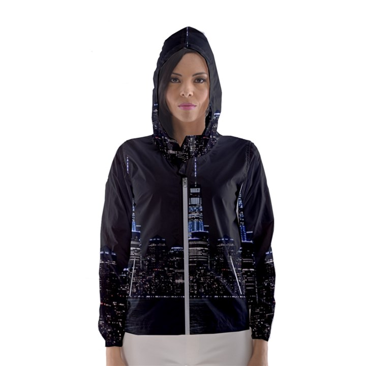 New York Skyline New York City Hooded Windbreaker (Women)