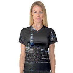 New York Skyline New York City V Neck Sport Mesh Tee
