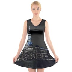 New York Skyline New York City V Neck Sleeveless Dress