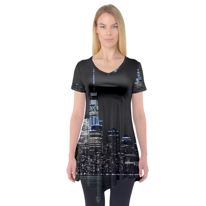 New York Skyline New York City Short Sleeve Tunic