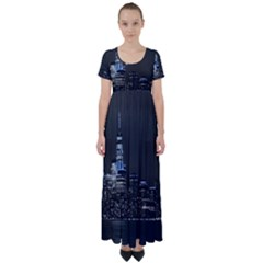 New York Skyline New York City High Waist Short Sleeve Maxi Dress