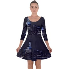 New York Skyline New York City Quarter Sleeve Skater Dress