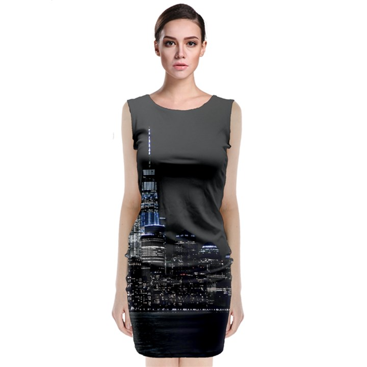New York Skyline New York City Classic Sleeveless Midi Dress