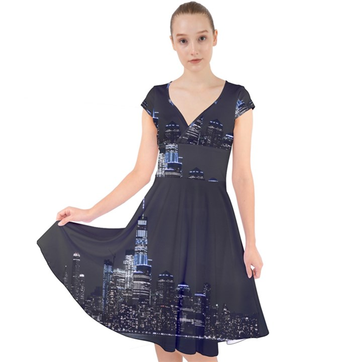 New York Skyline New York City Cap Sleeve Front Wrap Midi Dress