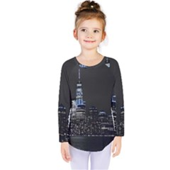 New York Skyline New York City Kids  Long Sleeve Tee