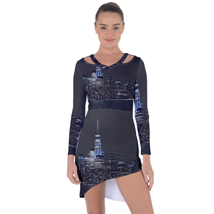 New York Skyline New York City Asymmetric Cut-Out Shift Dress