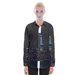 New York Skyline New York City Womens Long Sleeve Shirt