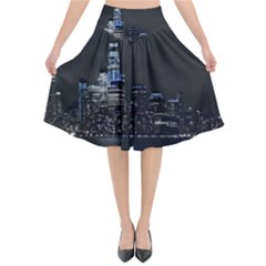 New York Skyline New York City Flared Midi Skirt by Nexatart