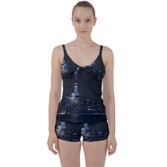 New York Skyline New York City Tie Front Two Piece Tankini