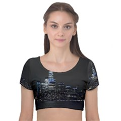 New York Skyline New York City Velvet Short Sleeve Crop Top