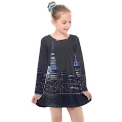 New York Skyline New York City Kids  Long Sleeve Dress
