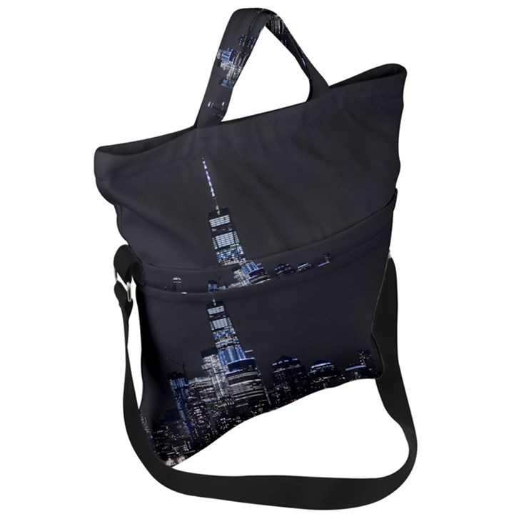 New York Skyline New York City Fold Over Handle Tote Bag