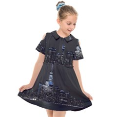 New York Skyline New York City Kids  Short Sleeve Shirt Dress